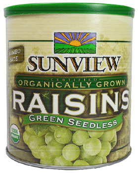 Sunview Organic Raisins - Green Seedless