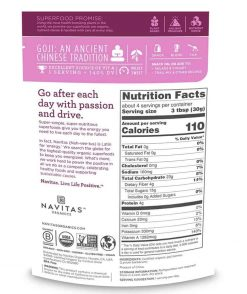 Navitas Organic Goji Berries Nutrition Label