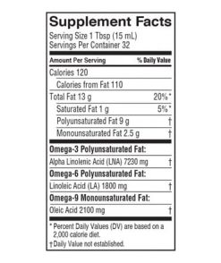 Barlean's Lignan Flax Oil Nutrition Label