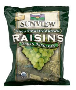 Sunview Organic Green Raisins Snack Pack
