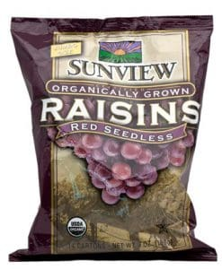 Sunview Organic Red Raisins Snack Pack