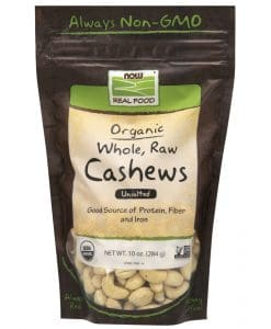 Now Organic Whole Raw Cashews