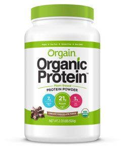 orgain organic plant protein powder chocolate